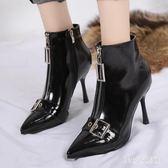 尖頭細跟短靴冬季新款韓版加絨高跟性感細跟短筒瘦瘦靴女靴子 AB6534 【123休閒館】