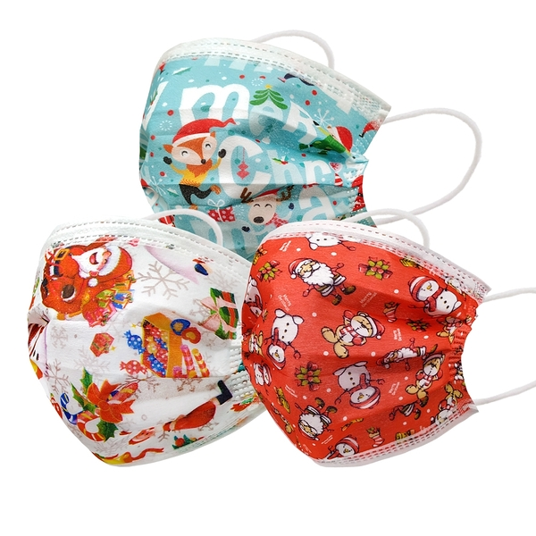 【3期零利率】現貨 送粉色愛心印花口罩 RM-A111 一次性防護聖誕節口罩 50入/包 3層過濾 熔噴布