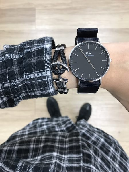 DW Daniel Wellington Classic DW00100149 40mm 黑色 尼龍 手錶 銀框 現貨!