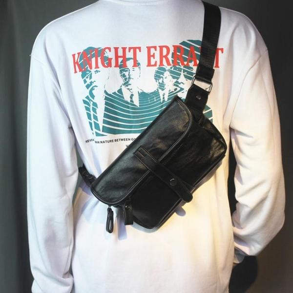 男包軟皮胸包時尚小背包胸前包運動小背包大容量背包單肩包潮 黛尼時尚精品