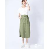 CANTWO JEANS綁結排釦小A字長裙-二色-橄欖綠