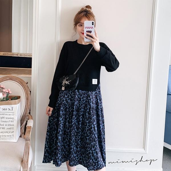 孕婦裝 MIMI別走【P521287】浪漫迷人 長袖拼接豹紋荷葉擺連身裙 孕婦洋裝