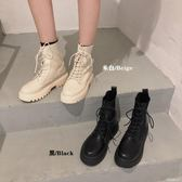 流行短靴 馬丁靴女針織靴秋季新款時尚英倫風百搭系帶厚底拼接短靴子 米蘭潮鞋館
