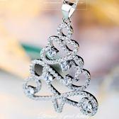 925純銀項鍊鑲鑽-聖誕樹造型韓國時尚百搭銀飾女墜飾73y64[巴黎精品]