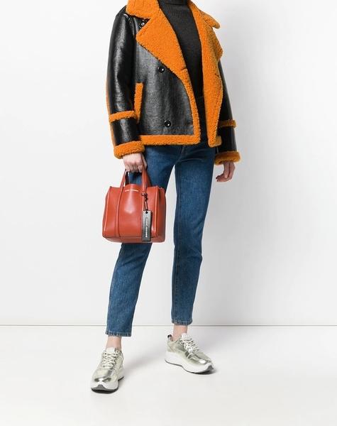 【Marc Jacobs】 THE TAG TOTE品牌字母吊飾牛皮手提/肩背兩用包 磚紅色