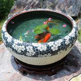 陶瓷魚缸手繪桌面擺件風水大號養金魚缸烏龜睡蓮荷花盆TZGZ 免運快速出貨