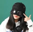 唾液護目防護飛沫飛行員女帽子眼鏡鴨舌帽男面罩遮臉棒球帽子 台北日光