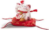 【金石工坊】桃花朵朵開貓(高8.5CM)陶瓷開運桌上擺飾 招財貓 招桃花求貴人 撲滿存錢筒