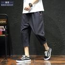 短褲男七分褲寬鬆運動夏季系帶日系胖子大碼亞麻7分褲男休閒褲子