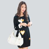 黑色洋裝--可愛甜美亮麗愛心印花撞色口袋寬鬆圓領長袖連衣裙(黑L-3L)-A365眼圈熊中大尺碼◎