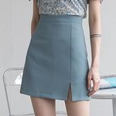 EGGKA藍色西裝短裙女夏季a字高腰開叉半身裙不規則復古顯瘦包臀裙  【夏日新品】