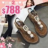任選2雙788涼鞋韓版奢華風水鑽葉子花朵裝飾平底涼鞋【02S8923】
