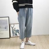 牛仔褲-水洗做舊舒適鬆緊腰寬管女長褲2色73tq29[巴黎精品]