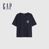 Gap男童 Logo純棉圓領短袖T恤 822440-藏藍色