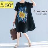 長上衣--垂順飄逸復古中國風印花棉麻寬鬆版型休閒小洋裝(黑XL-4L)-D521眼圈熊中大尺碼◎