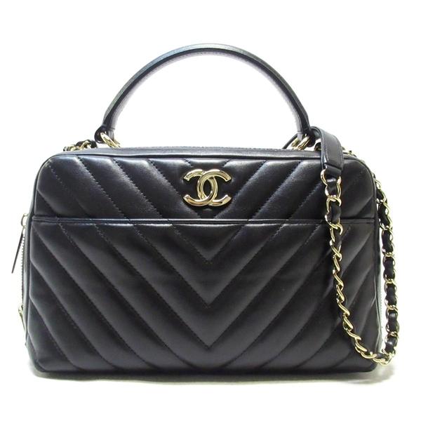CHANEL 香奈兒 黑色保齡球包 Flap Bag with Top Handle Chevron Bag【BRAND OFF】