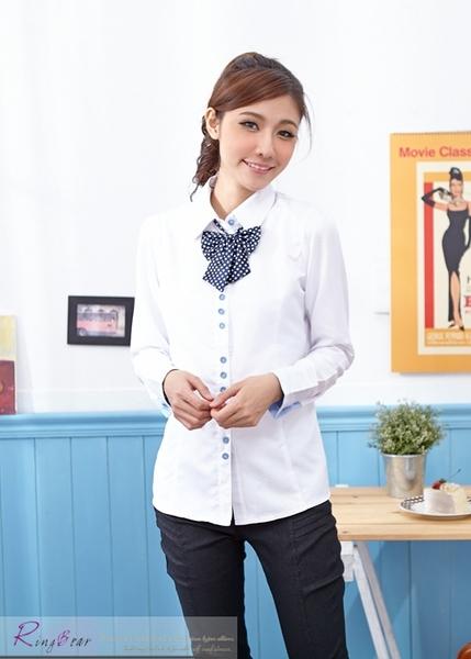 襯衫--圓點造型配釦附蝴蝶領結長袖襯衫(白.藍S-3L)-I73眼圈熊中大尺碼