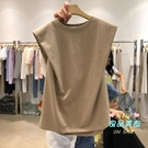 無袖上衣 圓領無袖T恤女2020夏裝新款純色百搭設計感上衣背心潮