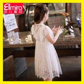 女童連身裙白色蕾絲裙子兒童公主裙2019新款夏裝女孩洋氣韓版夏季