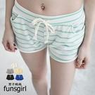台灣製舒適棉質腰綁帶抽繩橫條紋素面短褲-10色~funsgirl芳子時尚