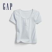 Gap女童 柔軟棉質亨利領T恤 670533-淺藍色