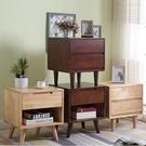床頭櫃 北歐床頭柜橡膠木小柜子實木收納柜簡約簡易床現代家用臥室小邊柜