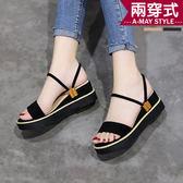 涼鞋-簡約兩穿式楔型涼拖鞋