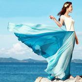 兩穿式沙灘渡假甜美雪纺波希米亞大擺長裙短洋裝 (玫紅白/海藍/橘黃)三色售 11740011