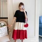 森女系洋裝 夏大碼時尚寬鬆顯瘦大碼a字裙子短袖森女系拼接連身裙-Ballet朵朵