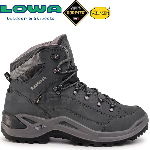 Lowa 310945-9726灰/翠綠 男Gore-Tex中筒多功能健行鞋 Renegade Mid GTX黃金大底登山鞋/郊山鞋