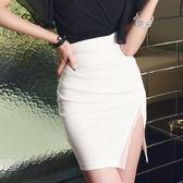 包臀裙 白色開叉半身裙夏性感時尚短裙氣質高腰顯瘦包臀一步裙