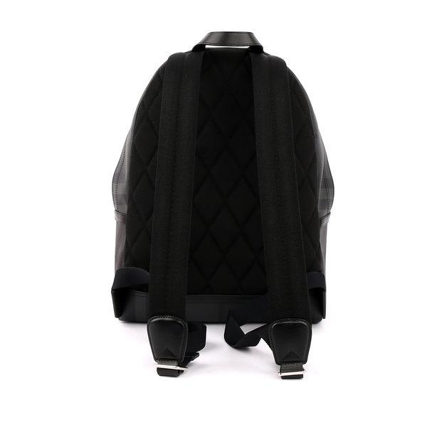 【BURBERRY】皮製飾邊 London格紋後背包(炭灰/黑)4056891