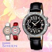 CASIO手錶專賣店 卡西歐 SHEEN SHE-4031L-1A 女錶 萊茵石華麗 羅馬數字 不鏽鋼錶殼 真皮錶帶