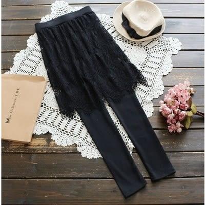 ☆莎lala 【K121425 】日系蕾絲純色褲裙-(現)鬆緊假兩件長褲(SIZE:M)
