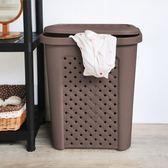 古典藤蔓附蓋洗衣籃(57公升)咖啡