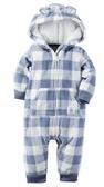 Carter's 連身衣   小熊系列藍色格子圖案連帽連身衣(刷毛款) 6M (Final sale)