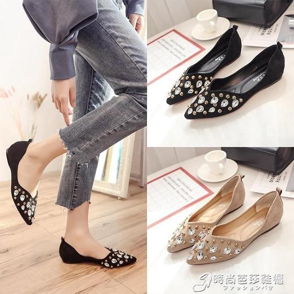 新款淺口單鞋女夏季韓版一腳蹬女鞋子百搭尖頭淺口平底懶人鞋 時尚芭莎
