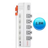 (最新安規款) PowerSync 群加 6開5插 2埠USB 防雷擊抗搖擺旋轉延長線 1.8M TR529118