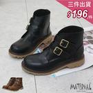 短靴 雙側扣魔鬼氈短靴 MA女鞋 T10...