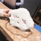 甜美迷你小包包斜挎包女學生韓版百搭可愛毛絨包包秋冬錬條單肩包  英賽爾