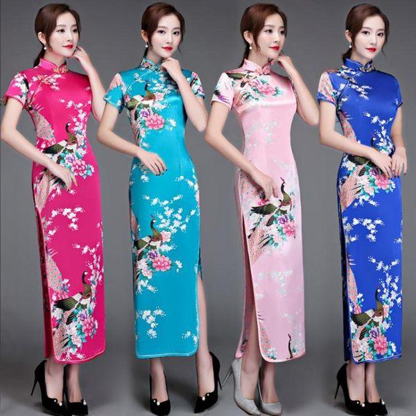 中大尺碼 改良式旗袍復古改良短袖修身大碼走秀迎賓年會演出禮儀旗袍薄洋裝 Ic821【Pink 】