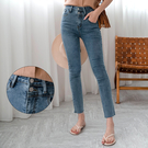 MIUSTAR 雙釦高腰抽鬚褲管合身牛仔褲(共1色,S-XL)【NH0054】預購