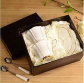 高檔描金骨瓷咖啡杯歐式茶具陶瓷下午茶具紅茶杯情侶杯配碟勺【喜迎盛夏好康爆賣】