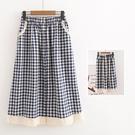 *ORead*日系小清新格紋棉布蕾絲花邊半身裙(2色F碼)