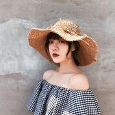 遮陽帽帽子女夏小清新鉤針草帽韓版百搭可折疊遮陽帽海邊度假沙灘太陽帽 全網最低價