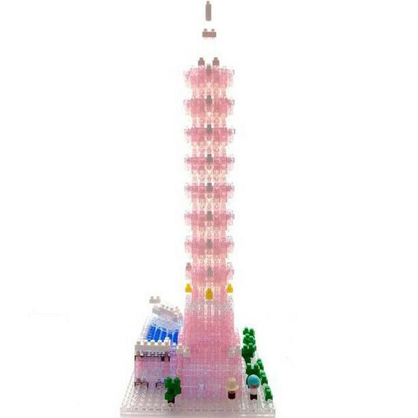 《Nano Block迷你積木》【世界主題建築系列】NBH-137台北101大樓(水晶粉紅) / JOYBUS玩具