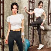韓國春夏健身房瑜伽服女新款運動短袖T恤緊身褲跑步兩件套裝女   初見居家