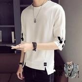 七分袖T恤 男士短袖t恤夏季潮牌寬鬆五分袖潮流白色7七分半袖體恤夏裝上衣服 5色