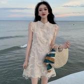 法式復古赫本風可鹽可甜裙子女裝2020夏季新款甜美時尚無袖連身裙 曼慕衣櫃