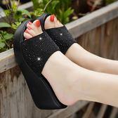 達芙妮新款夏季涼拖女外穿百搭厚底坡跟高跟真皮女式拖鞋 草莓妞妞